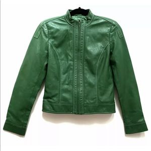WOMENS GREEN LEATHER JACKET by DAVID MEISTER